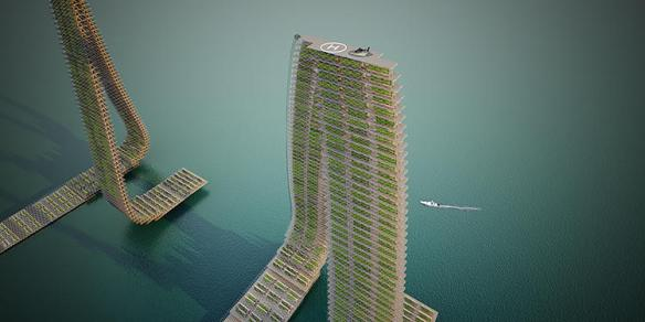 Forward Thinking Architectures floating responsive agricultural tower