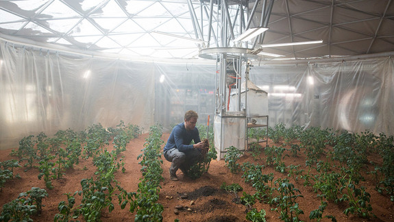 Mark Watney in his improvised potato farm in The Martian